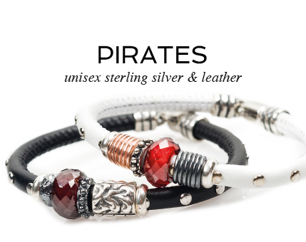 Unisex sterling silver & leather