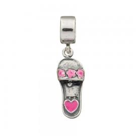 Bead charm in argento ciabattina smaltata rosa