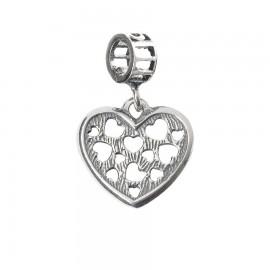 Bead Charm in argento 925 con cuori