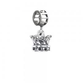 Bead charm corona in argento