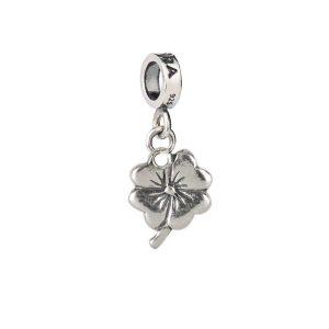 Bead charm in argento con quadrifoglio