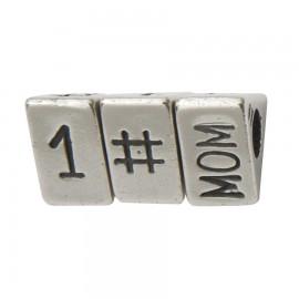 Bead messaggio mamma numero uno in argento