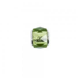 Bead in vetro e argento cristalli di vetro verde