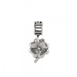 Bead charm in argento quadrifoglio