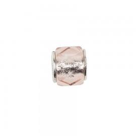 Bead in vetro e argento cristalli di vetro rosa