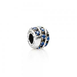 Bead in argento e zirconi blu