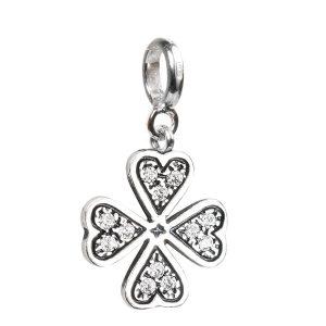 Bead charm quadrifoglio in argento e swarovski- Sterling silver and swarovski clover charm bead